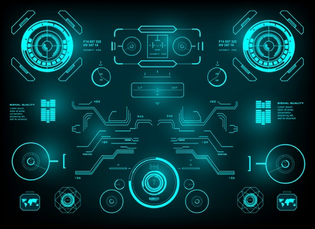 Futuristic green virtual graphic touch user interface, hud interface dashboard Illustration