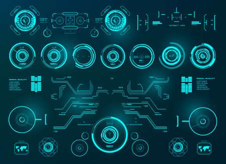 Futuristic green virtual graphic touch user interface, target, hud interface dashboard 版權商用圖片