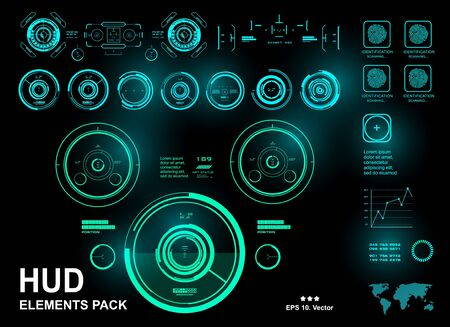 HUD interface dashboard, futuristic green virtual graphic touch user interface, target