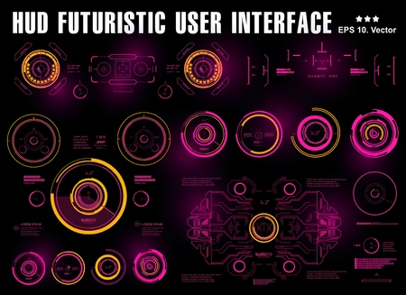Futuristic virtual graphic touch user interface, hud dashboard display virtual reality technology Illustration