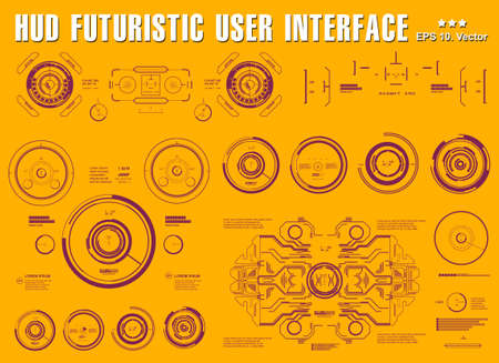 Futuristic virtual graphic touch user interface, target, hud dashboard display virtual reality technology
