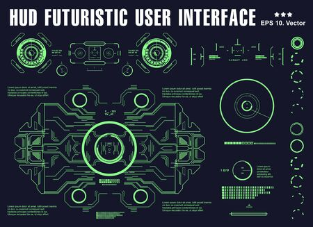 Futuristic green virtual graphic touch user interface, target, hud dashboard display virtual reality technology
