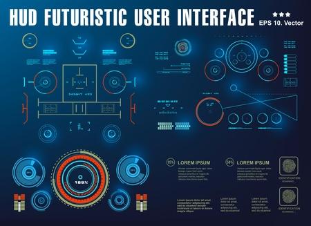 Interface HUD Interface utilisateur tactile graphique virtuelle futuriste, cible Vecteurs