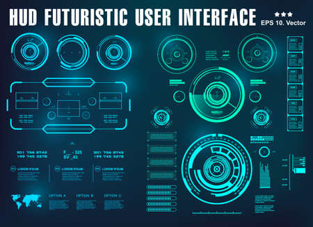 HUD interface futuristic blue virtual graphic touch user interface, target