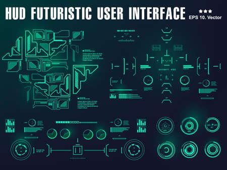 Futuristic green virtual graphic touch user interface, target 版權商用圖片