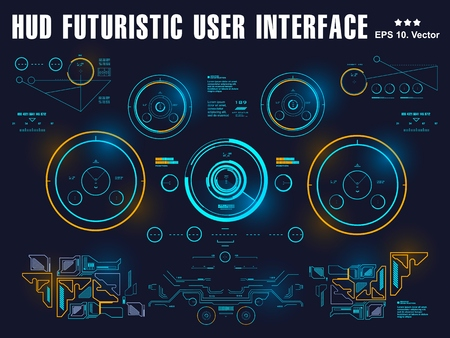 Futuristic virtual graphic touch user interface, target, hud interface dashboard, virtual reality interface