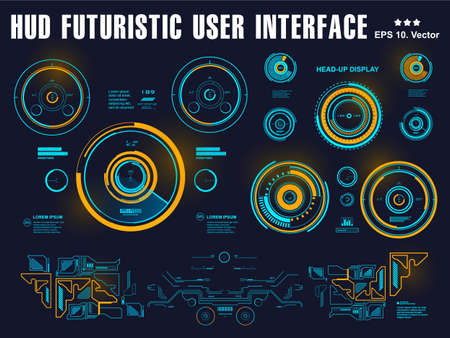 Futuristic blue virtual graphic touch user interface, target, hud interface dashboard, virtual reality interface