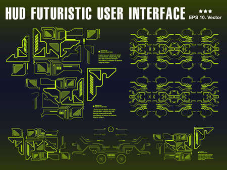 Background with futuristic user green interface. Design concept with HUD elements. Template UI for app and virtual reality.