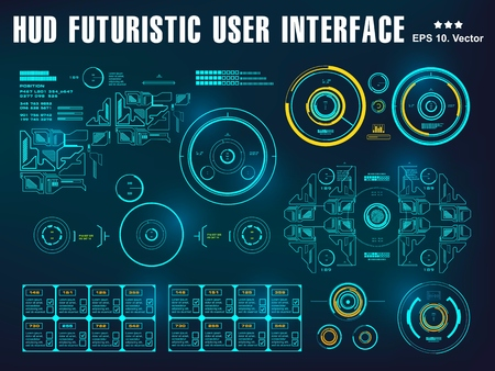 Hud interface dashboard, virtual reality interface, futuristic virtual graphic touch user interface