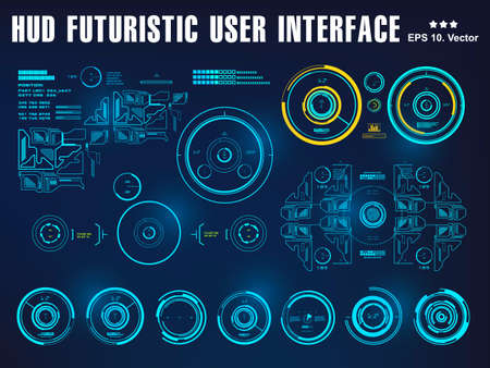 Hud interface dashboard, virtual reality interface, futuristic virtual graphic touch user interface, target 版權商用圖片