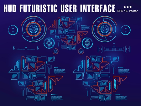 Hud interface dashboard, virtual reality interface, futuristic virtual graphic touch user interface, target Illustration