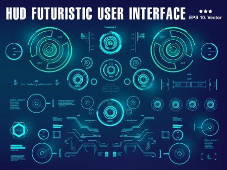 Hud-Schnittstellen-Dashboard, Virtual-Reality-Schnittstelle, futuristische virtuelle grafische Touch-Benutzeroberfläche, Ziel Vektorgrafik