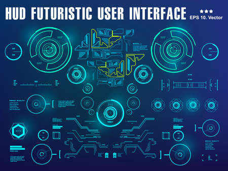 Hud blue interface dashboard, virtual reality interface, futuristic virtual graphic touch user interface, target 向量圖像