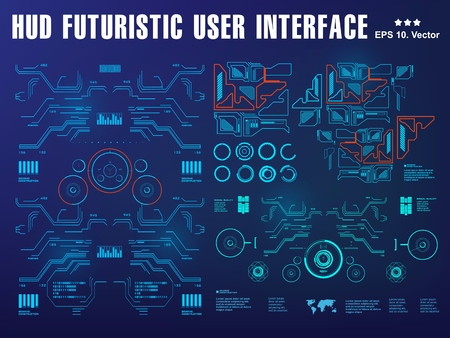 Hud interface dashboard, virtual reality interface, futuristic virtual graphic touch user interface, target 向量圖像