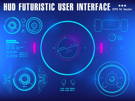 Interface utilisateur tactile graphique virtuelle futuriste Vecteurs