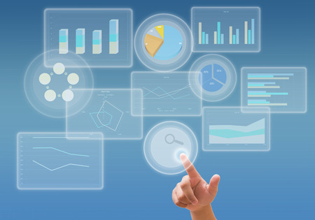 connection connections: business analyze graph and working with touch screen technology