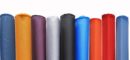 Colorful material fabric rolls - texture samples Banco de Imagens