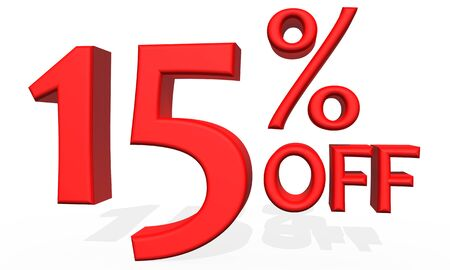 number 15: 3D illustration - Number 15 percent discount on  white background