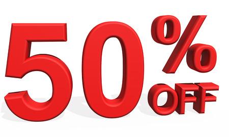 50 number: 3D illustration - Number 50 percent discount on white background