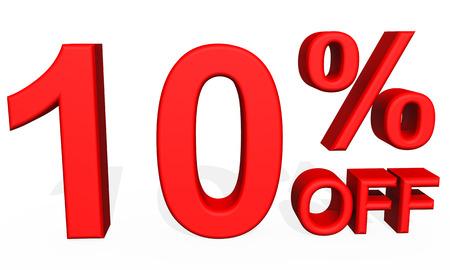 number 10: 3D illustration - Number 10 percent discount on  white background