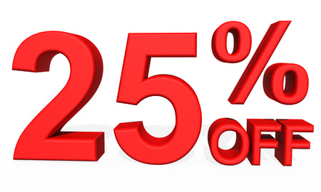 25: 3D illustration - Number 25 percent discount on a white background Stock Photo