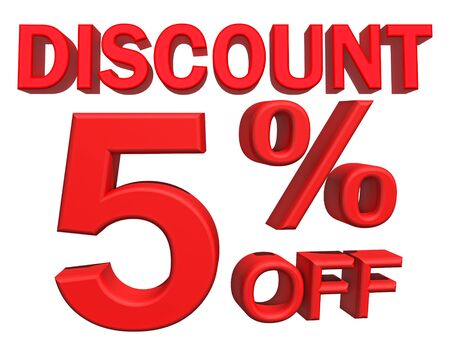 discount: 3d illustration - discount 5 percent sign