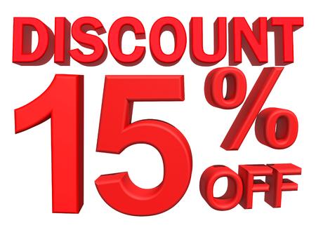15: 3d illustration - discount 15 percent sign