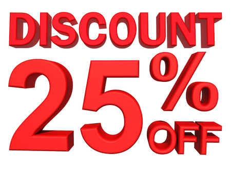 retail store: 3d illustration - discount 25 percent sign Stock Photo