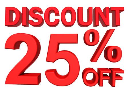 25: 3d illustration - discount 25 percent sign Stock Photo
