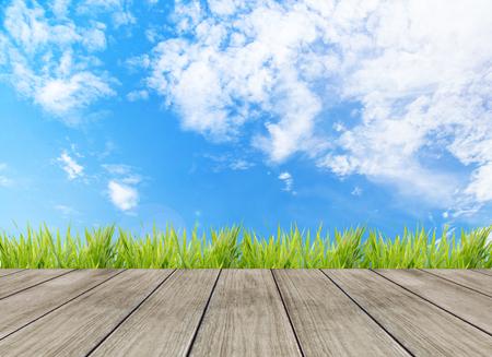 햇빛 bokeh 배경 및 관점 나무 판자와 추상 밝은 봄 스톡 콘텐츠