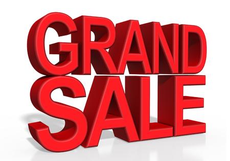 grand sale: 3d illustration - GRAND SALE on white background
