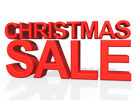 discount: Christmas sale 3D text on white background