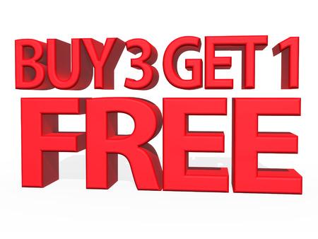 buy: 3d illustration - Buy 3 Get 1 FREE on white background Stock Photo