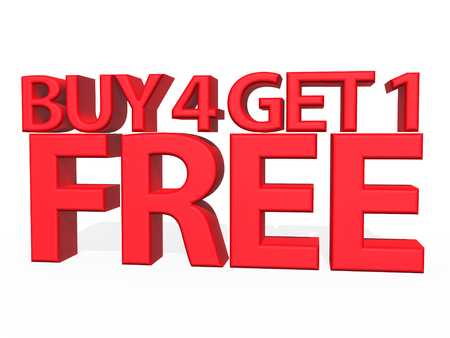 3d illustration - Buy 4 Get 1 FREE on white background 스톡 콘텐츠