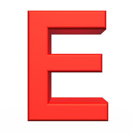 e white: 3d rendering letter E isolated on white background