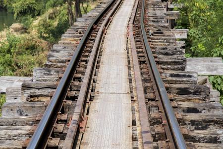 kanchanaburi: Railroad track in Kanchanaburi province, Thailand Stock Photo