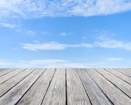 sunlight sky: Wood table top on blue sky background  - used for display your products Stock Photo