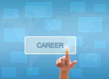 new recruit: hand touching CAREER on virtual screen interface