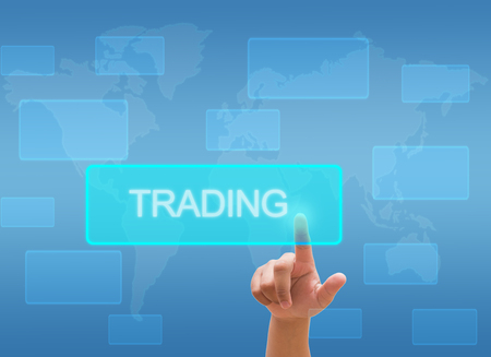 barter: hand touching  TRADING  on virtual screen interface