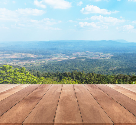 wood floor background: wood table top and sunny day with landscape background