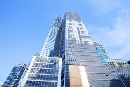 Skyscrapers in financial district of Singapore, office buildings of modern megalopolis Stock Photo