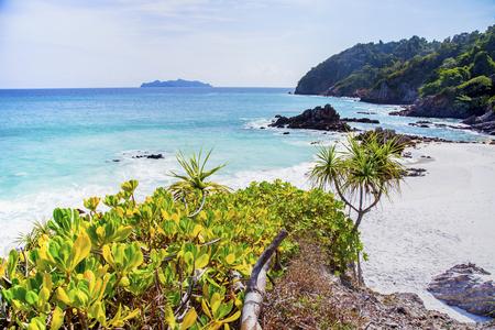 Beautiful beach and tropical sea at Cockburn Island, Myanmar. Banco de Imagens