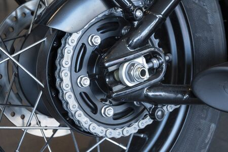 Chains and sprocket of motorcycle wheel