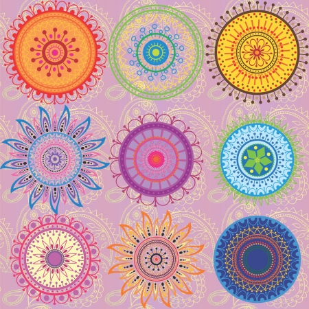 A set of 9-colored mandalas Illustration
