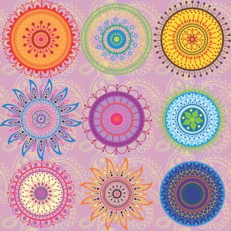 A set of 9-colored mandalas Illustration