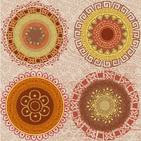 Colored mandalas drawn by hand Vector