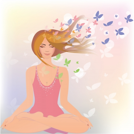 A girl is engaged in yoga in surroundings butterflies Vector