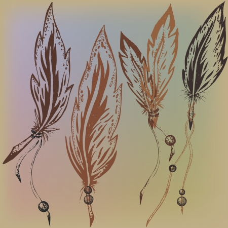 warmly: Feathers are drawn by hand