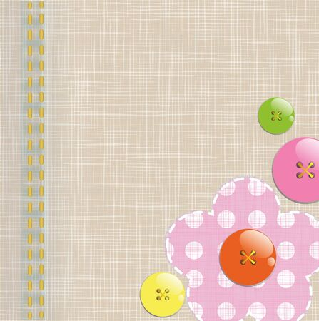 Textile background with funny buttons
