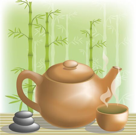 The Japanese tea ceremony is in a bamboo grove Vector